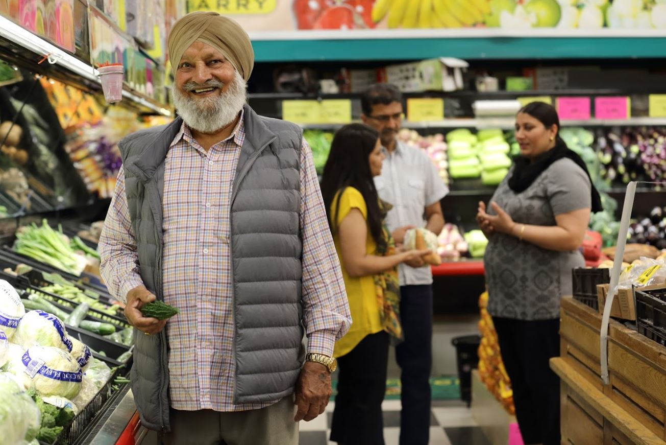 Patient Chanan Chahal, diagnosed with diabetes, at South Asian grocery store in Surrey as part of Naz's Wellness diabetes education clinic.