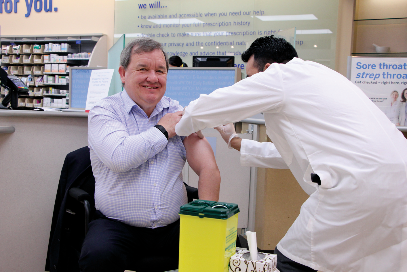 Invite local politicians to get a flu shot at your clinic. Last year, MLA Shane Simpson dropped in for his flu shot  with Anoop Khurana.